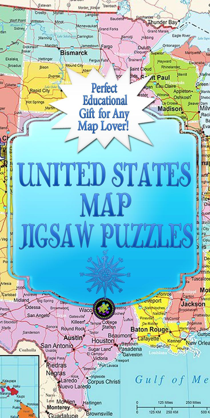 Looking for a United States Map Jigsaw Puzzle? You'll find plenty of USA map jigsaw puzzles, that are Educational as well as challenging. Great gift ideas for adults and kids! How well do you know the rivers, states, and capital cities of your US geography?
