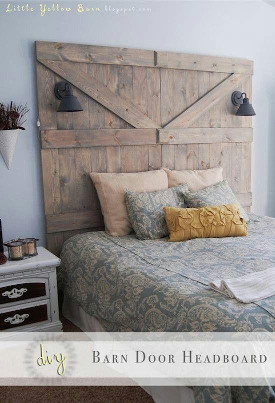barn doorish headboard, love!