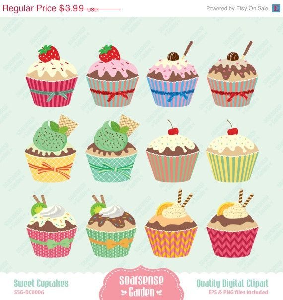 Sweet Cupcakes Digital Clipart Cup