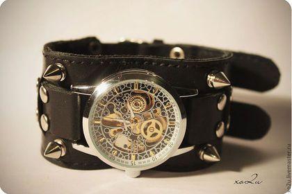 Часы наручные Hard Rock - часы с шипами,дизайнерские украшения,кожаный браслет