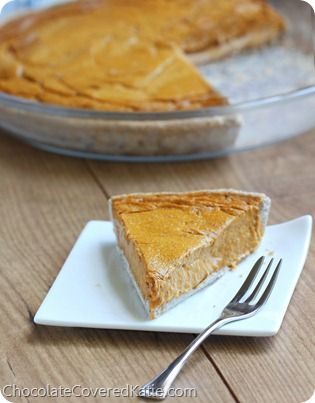 With over 100 positive reviews of the recipe. People have called this the creamiest pie they've ever tasted, and a healthy crust recipe is included. Perfect for serving at Thanksgiving dinner. http://chocolatecoveredkatie.com/2013/11/04/healthy-pumpkin-pie-recipe/