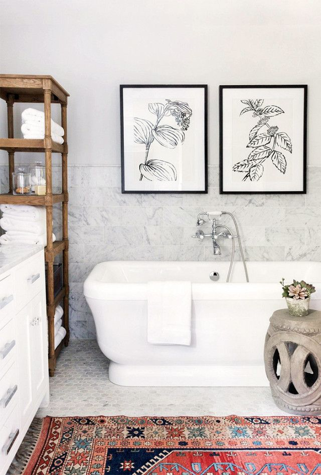 "Roth pointed out how messy designs can become when going crazy with finishes and patterns: ""My theory is that in most circumstances, more than two finishes in a bathroom can look odd. Try and flow..."