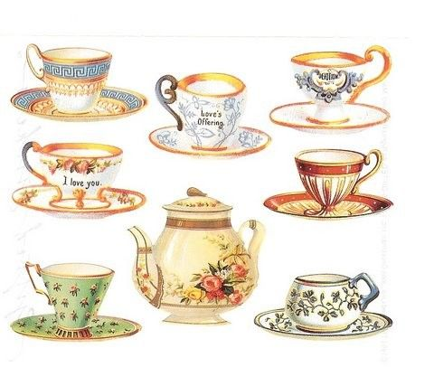 Charming Vintage Victorian Teacup Sticker Set/1986 The Gifted Line/Mint. $5.95, via Etsy.
