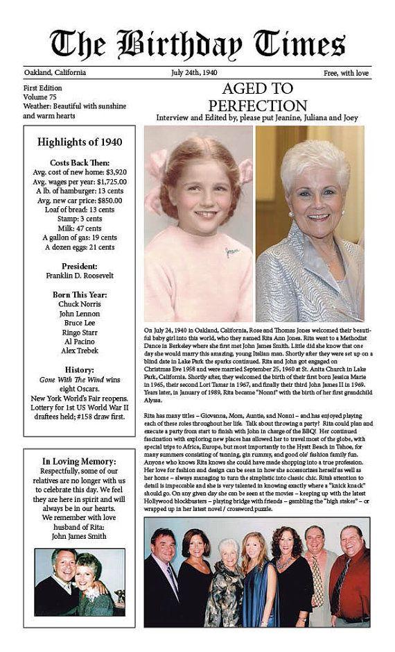 The Birthday Times / Birthday Newspaper by ForMomentsThatMatter