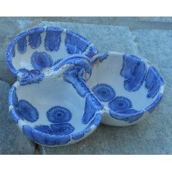 """Triple Bowl /or nut bowl """"blue drops"""" lead-free, handmade by Tinos Ceramics"""