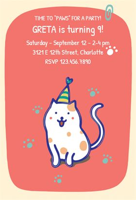 Birthday Purrfection printable invitation template. Customize, add text and photos.  Print, download, send online or order printed!