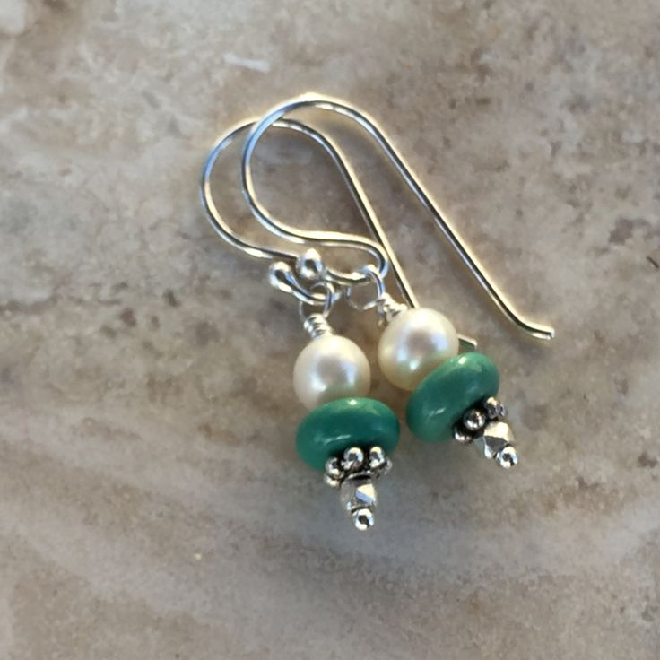 Turquoise and Pearl Earrings with Sterling Silver, 1.25 inches by EastVillageJewelry on Etsy