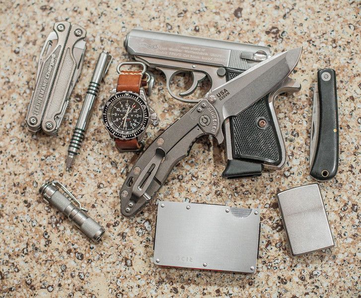 Leatherman Charge Hinderer Stainless Investigator Marathon GSAR on Leather Zulu Maratec AAA Stainless Walther PPK/S .380 Hinderer XM-18 3.5 Flipper Black G-10 The Ridge Titanium Wallet/money clip Zippo GEC Black Bullnose