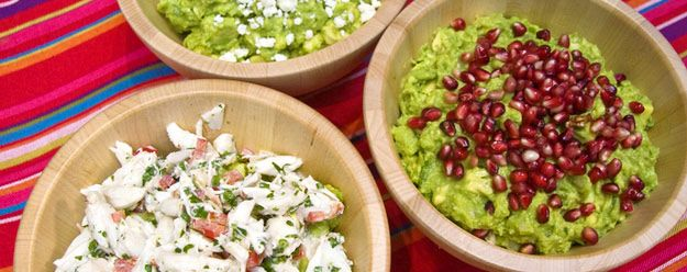 Guacamole Three Ways: Lump Crab, Queso Fresco, Pomegranate