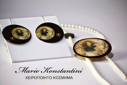 Mario Konstantini  #earrings #necklace #pearls #margaritaria #kolie #skoularikia