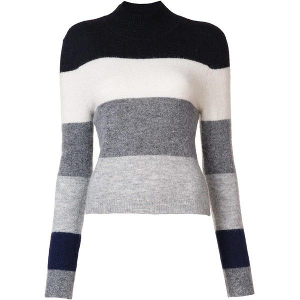 Equipment turtleneck striped jumper ($270) ❤ liked on Polyvore featuring tops, sweaters, grey, grey striped sweater, grey turtleneck sweaters, striped turtleneck, striped sweater and gray turtleneck