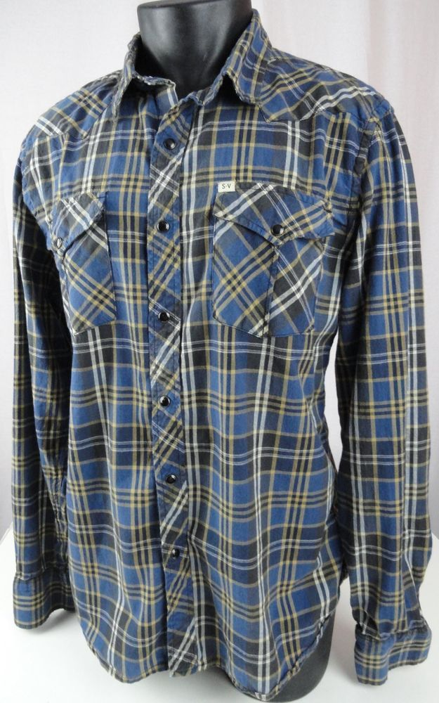 Salt valley western shirt mens xl black pearl snaps plaid for Brown and black plaid shirt