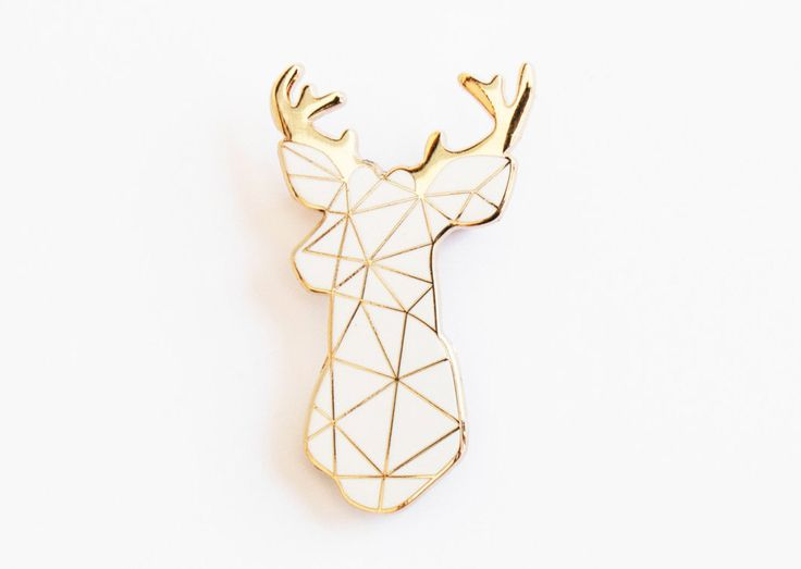Stag Brooch Pin Badge White Boutonniere Geometric (10.40 GBP) by SketchInc