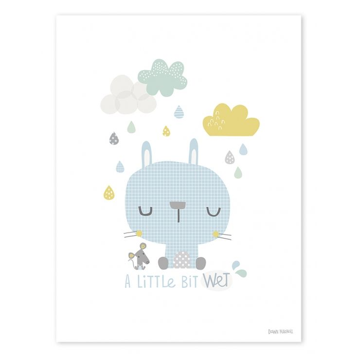 Kinderzimmer-Poster 'Hase im Regen' blau/pastell 30x40cm