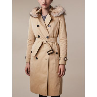 BURBERRY Fur-Trimmed Hood Trench Coat With Warmer. #burberry #cloth #