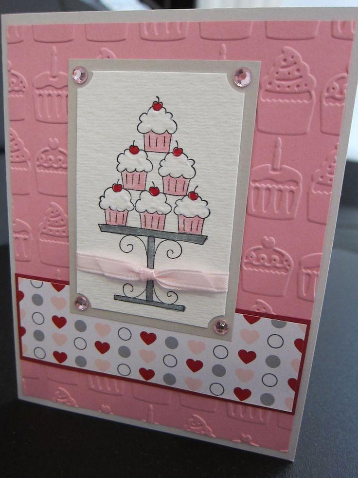 Stampin Up Happy Birthday Cupcake Tower Handmade Card with Pink Rhinestones
