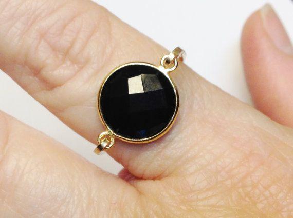 Zwarte Onyx Ring Zwarte Onyx edelsteen Gouden door SpiralsandSpice