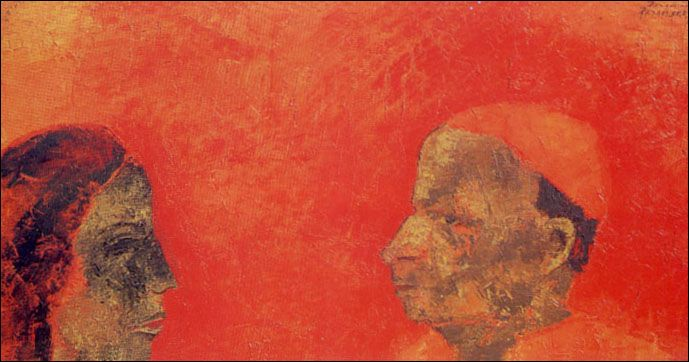 Two Heads by Akbar Padamsee. Oil on canvas. Part of NGMA Delhi's permanent collection.
