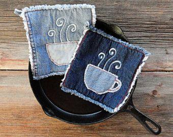 Blue Jeans Hot Pads Appliqued Denim Potholders by DeMasterDesigns