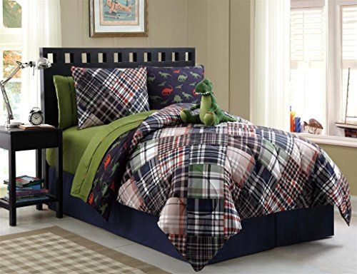 9 Pc Reversible Dinosaur Comforter Set Bed in a Bag Full Size Bedding By Plush C Collection, http://www.amazon.com/dp/B00NN4R9MM/ref=cm_sw_r_pi_awdm_Imemub11NGB6B