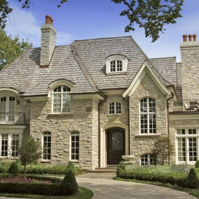 Stunning Stone Manor Style French Country Home   Cream/beige/ivory Stone  Exterior With Grey Roof