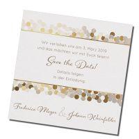 Save-the-Date-Karten auf einem schimmernden Premiumkarton. Sehr elegant!