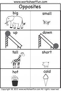 opposites free printable preschool and kindergarten worksheets - Printable Preschool Crafts