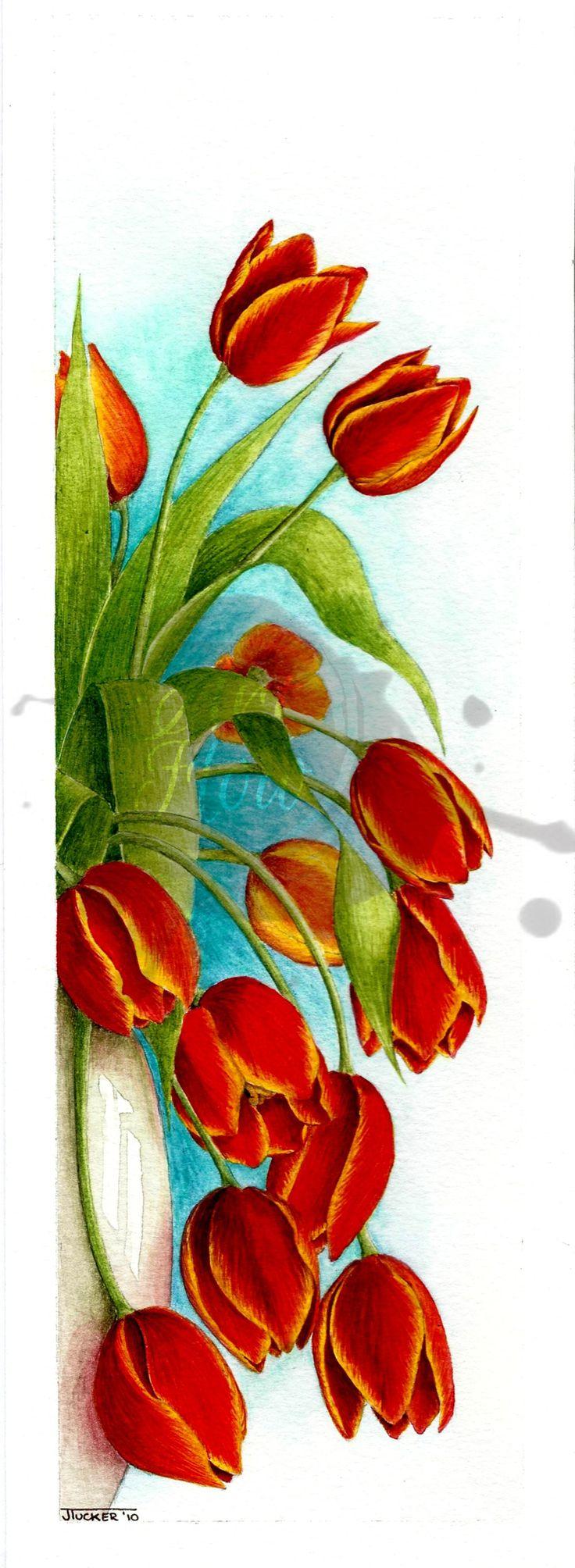 watercolour tulips in vase