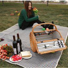 Портативный старинные плетеная корзина для пикника, набор для активного отдыха ручной семья ротанга корзины для пикника для 2 человек друг подарок(China (Mainland))