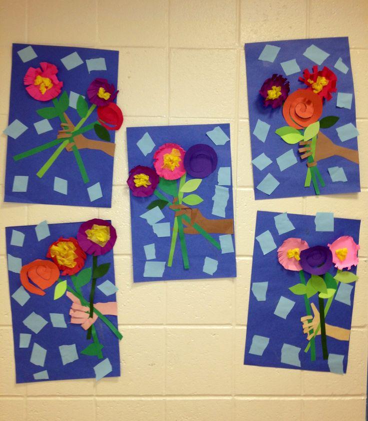 Cut and Paste Pop Up Picasso Flowers- 1st Grade(art teacher: v. giannetto)