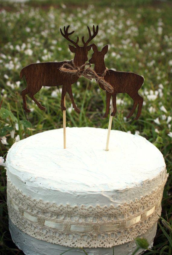 Deer on sticks-wedding cake topper-deer-wedding-buck and doe-woodland wedding-rustic-wedding cake topper-groom's cake topper-hunter-groom on Etsy, $14.99
