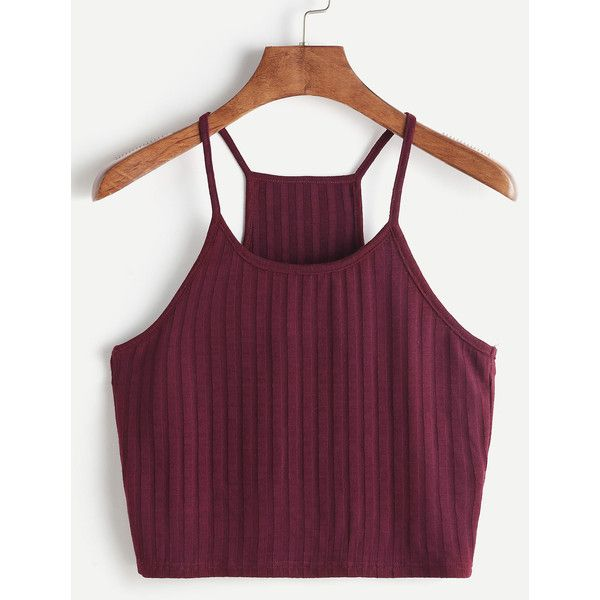 Ribbed Racer Cami Top (44 GTQ) ❤ liked on Polyvore featuring tops, burgundy, purple camisole, purple cami, ribbed tank, cami tank tops and summer tops