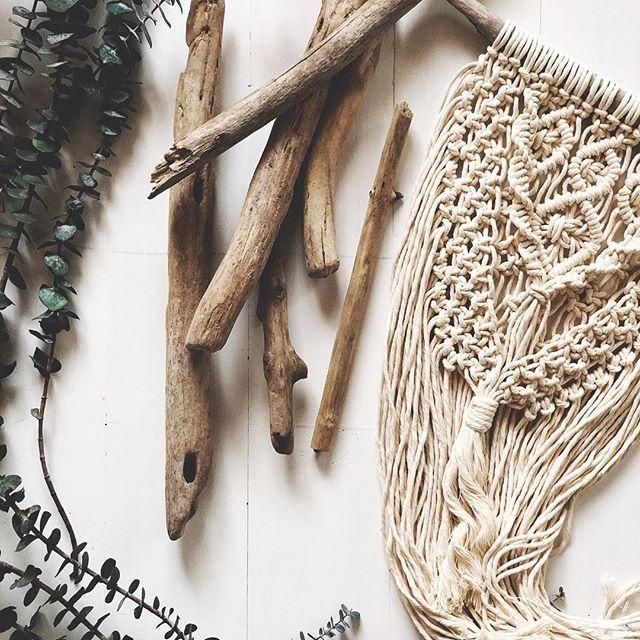Macrame flat lay, modern macrame, driftwood, macrame wall hanging, ropeandrose  ·  ·  ·  ·  ·  ·  ·  #bts #behindthescenes #irl #meetthemaker #andhertechniques #snapseed #vscocam #weekend #hustle #ropeandrose #macrame #macramaker #modernmacra...