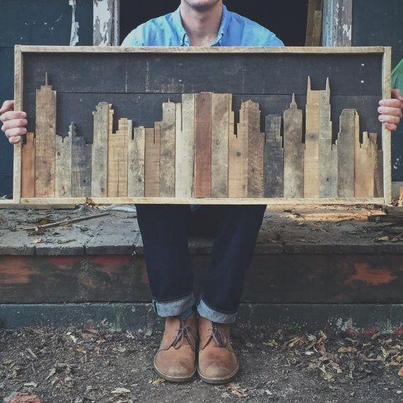 Rústico Tennessee Nashville Skyline de madera por crtcreative