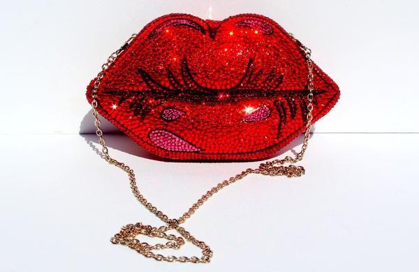 Pop Art Red Lips Crystal Clutch In 2020 Clutch Purse Red Lips