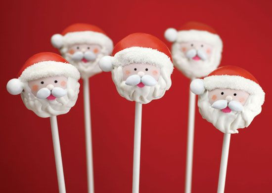 Santa cake pops    Excerpted from Cake Pops Holidays: By Bakerella by Angie Dudley. Published by Chronicle Books Copyright © 2012.