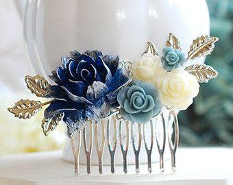 Flor azul marino azul oscuro pelo peine peine del pelo por LeChaim