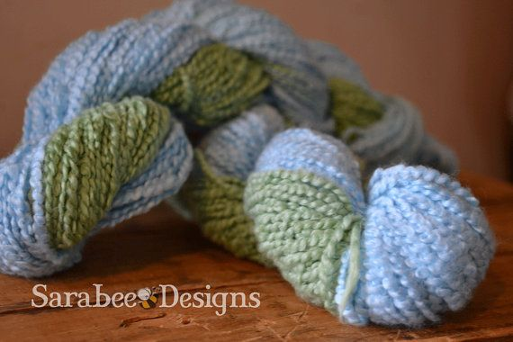 Little Boy Blue Handpainted Boucle Cotton Yarn by sarabeedesigns