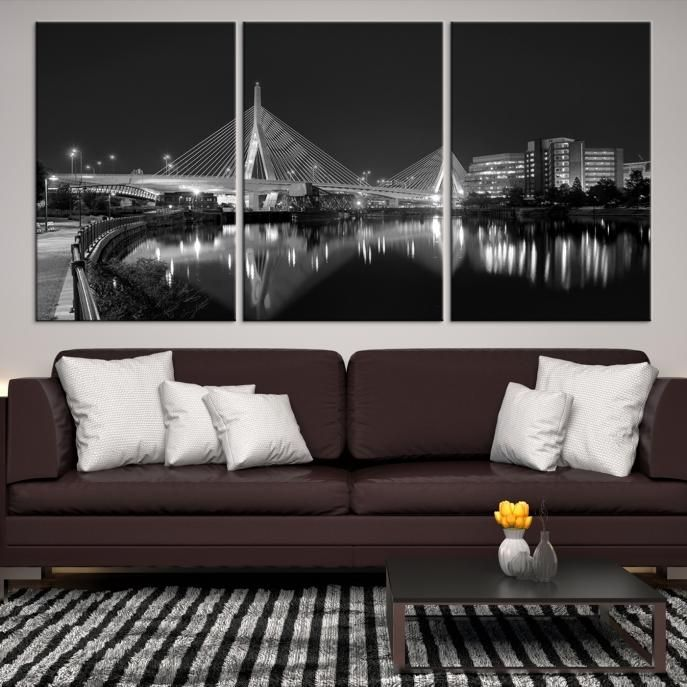 60295 - Boston City Decorative Wall Art Canvas Print - Boston Skyline, Boston, Boston Canvas, Boston Wall Art, Canvas Print, Boston Print, Wall Art,