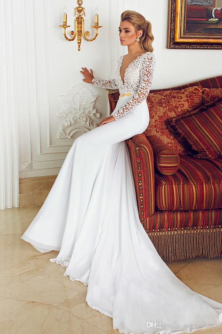 Cheap 2015 Long Sleeve Wedding Dresses By Berta Bridal Deep V Neck Lace Bodice Gold Beaded Waist Fitted Wedding Gowns Sheath Bridal Dresses Lace Simple Wedding Dress Monique Wedding Dresses From Seewedding, $150.16| DHgate.Com