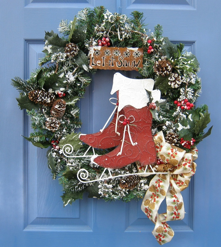 Ice skates front door wreath christmas holiday wall for Handmade christmas door decorations