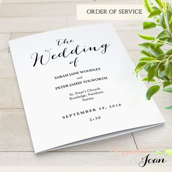 Printable Folded Wedding Program Modern Order Of Service Editable Template Any