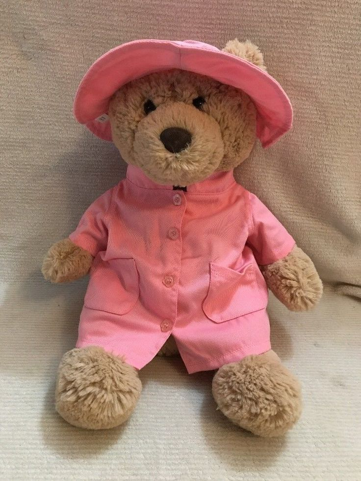 """Pink Overcoat And Hat For Plush Teddy Bears 15""""-17""""  