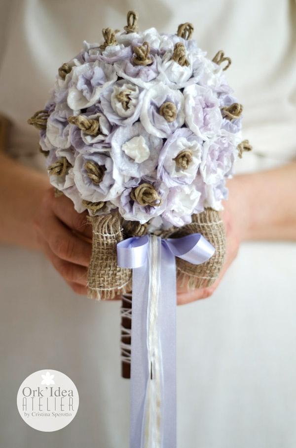 ORK'IDEA ATELIER: TUTORIAL: COME FARE UN BOUQUET DA SPOSA CON CARTA RICICLATA / Tutorial: how to create a paper scrap bridal bouquet. LINK: http://orkideaatelier.blogspot.it/2013/03/tutorial-come-fare-un-bouquet-da-sposa-di-carta-riciclata.html