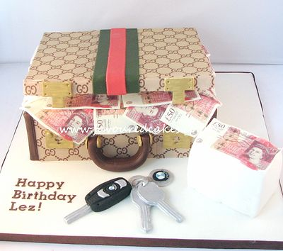 Gucci suitcase cake