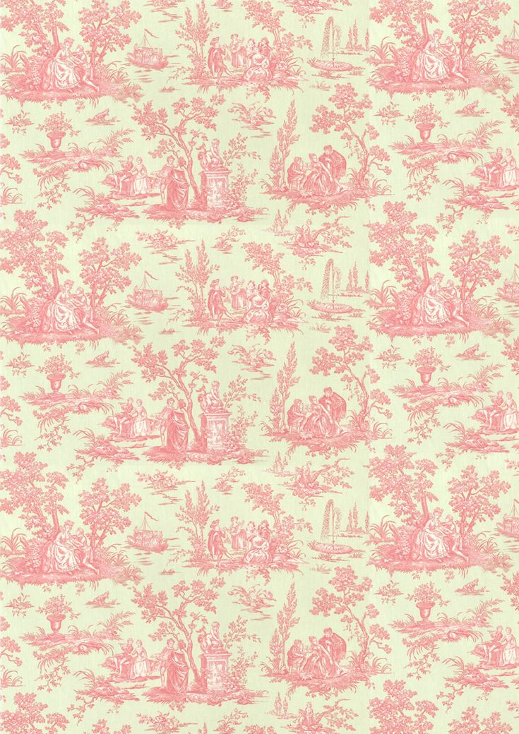 Pink Toile Wallpaper.  I just love toile.  Wouldn't this be pretty in a little girl's room or a powder room?
