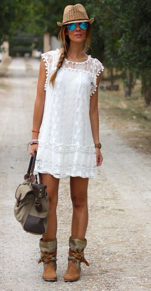 white lace dress and boots