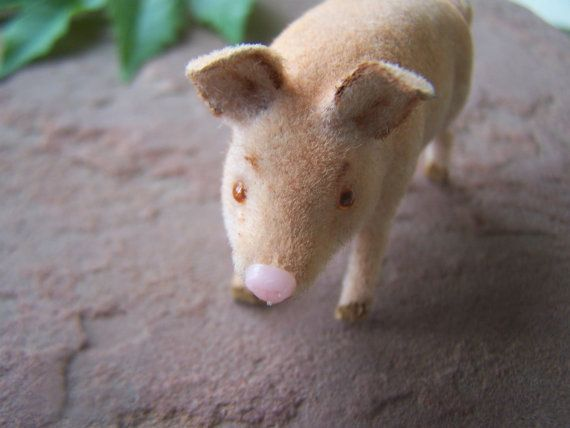 Vintage Toy, Kunstlerschutz Handwork Flocked Pig, German toys, Miniature Farm animals, That will do Pig