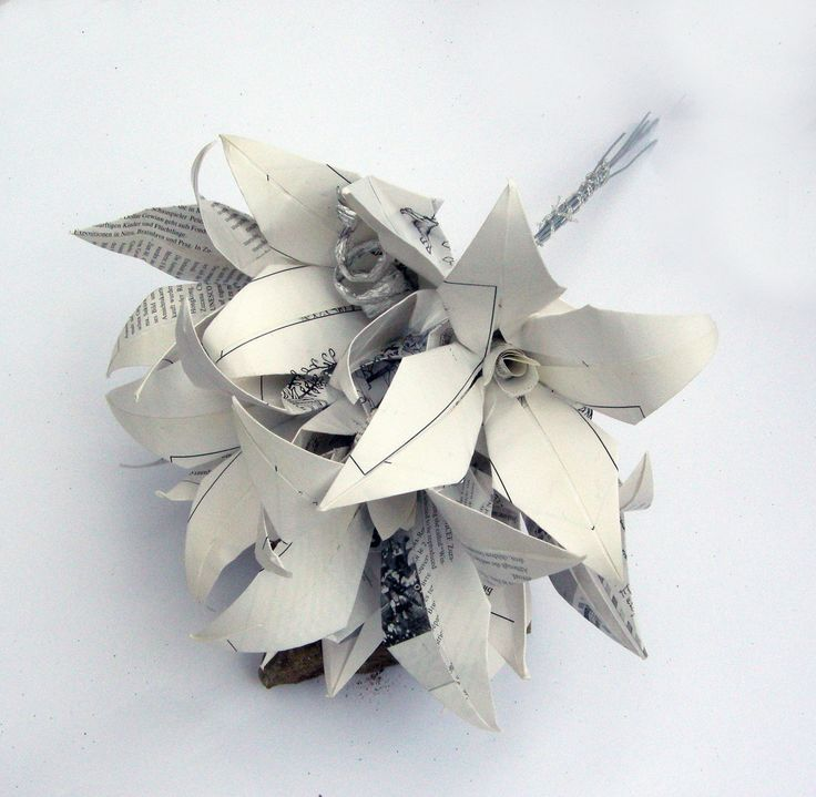 Simple white bridal bouquet from upcycle paper in by CeruleanBird, $30.00
