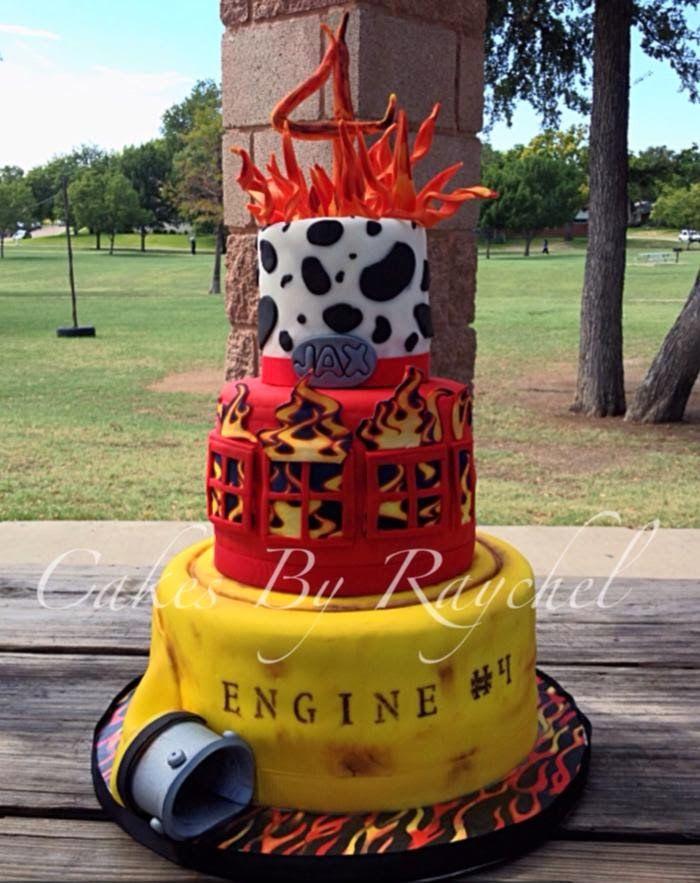 Firefighter Cake love the bottom tier, looks like a fire hose.